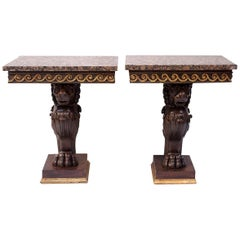 Pair of Lacquered Wood Pompeian Style Consoles with Lion Ornament
