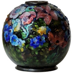 Camille Fauré Floral, Bunch of Flowers Enamel Vase, circa 1930