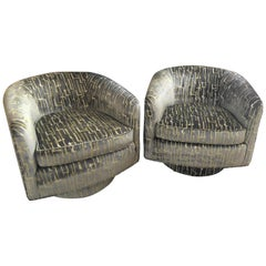 Pair of Milo Baughman Style Barrel Shaped Swivel Club Chairs