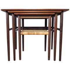 Midcentury Danish Teak and Cane Nesting Tables, 1950s