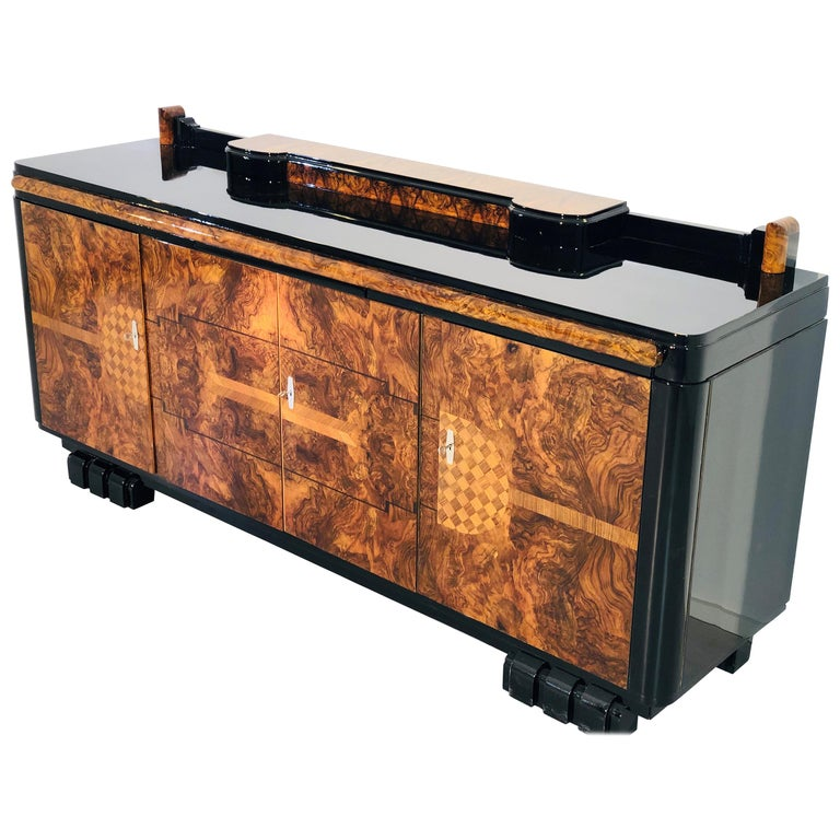 1920s Walnut Burl Art Deco Sideboard with Ornamentations, Limited Offer For Sale