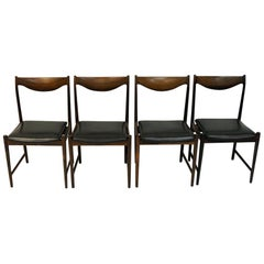 Set of Rosewood Diningchairs Darby with Black Leather, Torbjørn Afdal for Bruksb