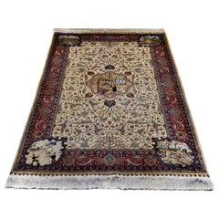 Antike handgeknüpfte Seide Beige und roten Teppich Hereke mit Blumen