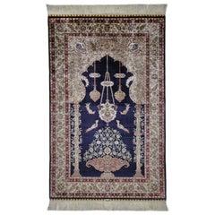 Antike handgeknüpfte Seide blau Beige und roten Teppich Hereke