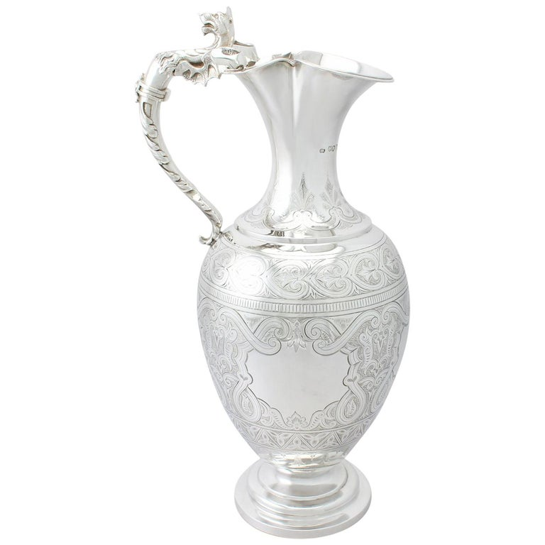 Antique Victorian English Sterling Silver Wine Ewer For Sale