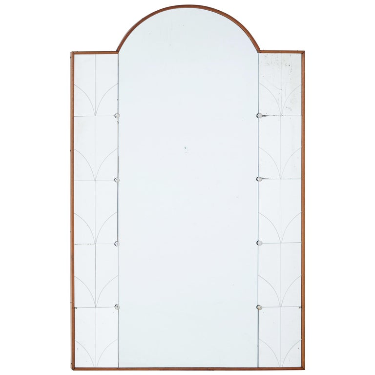 Unusual Deco Inspired Dome Topped Mirror For Sale