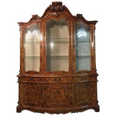 Baroque Stil Glas Display Cabinet Walnut with Floral Inlays