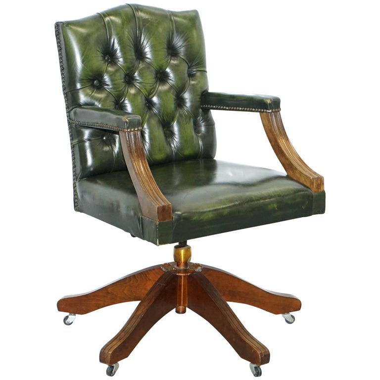 Vintage Bevan Funnell Directors Green Leather Chesterfield