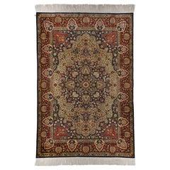 Antike handgeknüpfte Seiden Teppich Hereke