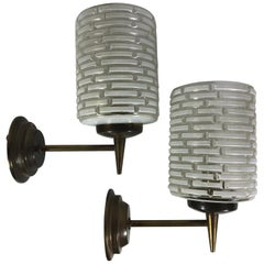 Pair of Wall Lamps in Brass, circa 1960, France