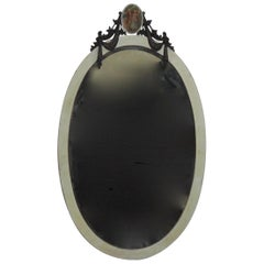 Carved Gustavian Style Oval Beveled Mirror, circa 1900