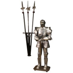 20th Century Metal Italian Armor with Sword and Three Halberds, 1950