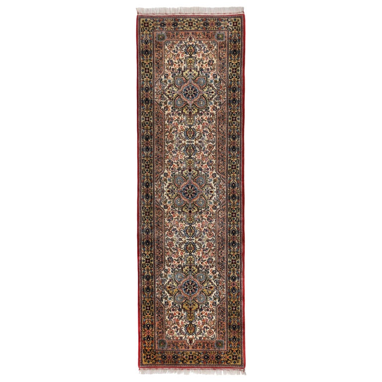 Hand Knotted Wool Rug Runner Kirman L For Sale At 1stdibs