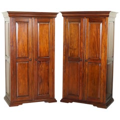 His & Hers Pair of Solid Panelled Mahogany Wardrobes with Large Hanging Space