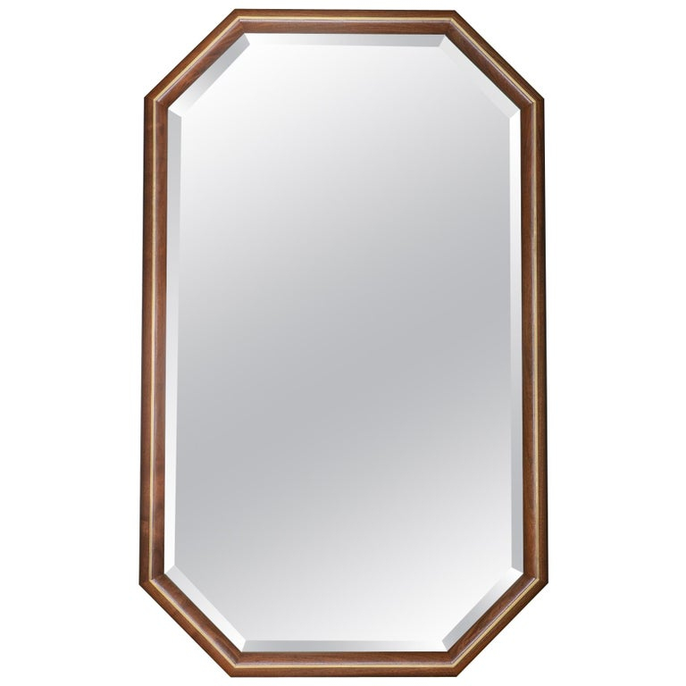 Walnut and Brass Inlay Elongated Octagon Framed Mirror For Sale