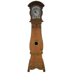 Richly Carved Grand Father Clock in Original Paint, circa 1760