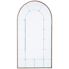 Art Deco Inspired Oak Arch Shaped Wall Mirror