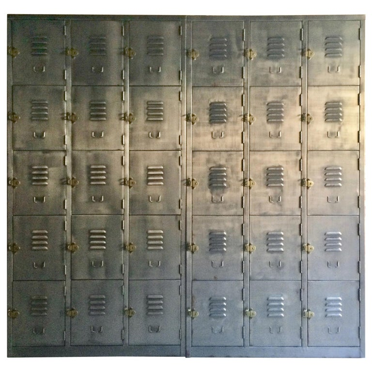 Fabulous Industrial Metal Lockers Thirty Cabinets Loft Style Brushed Steel For Sale