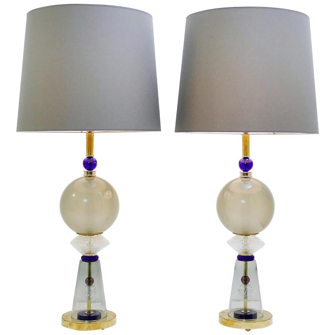 Pair of Italian Table Lamps in Murano Glass