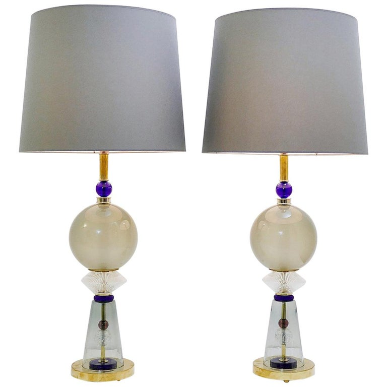 Pair of Italian Table Lamps in Murano Glass For Sale