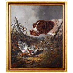 Hunting Scene by German Painter, End of 19th-Beginning of 20th Century