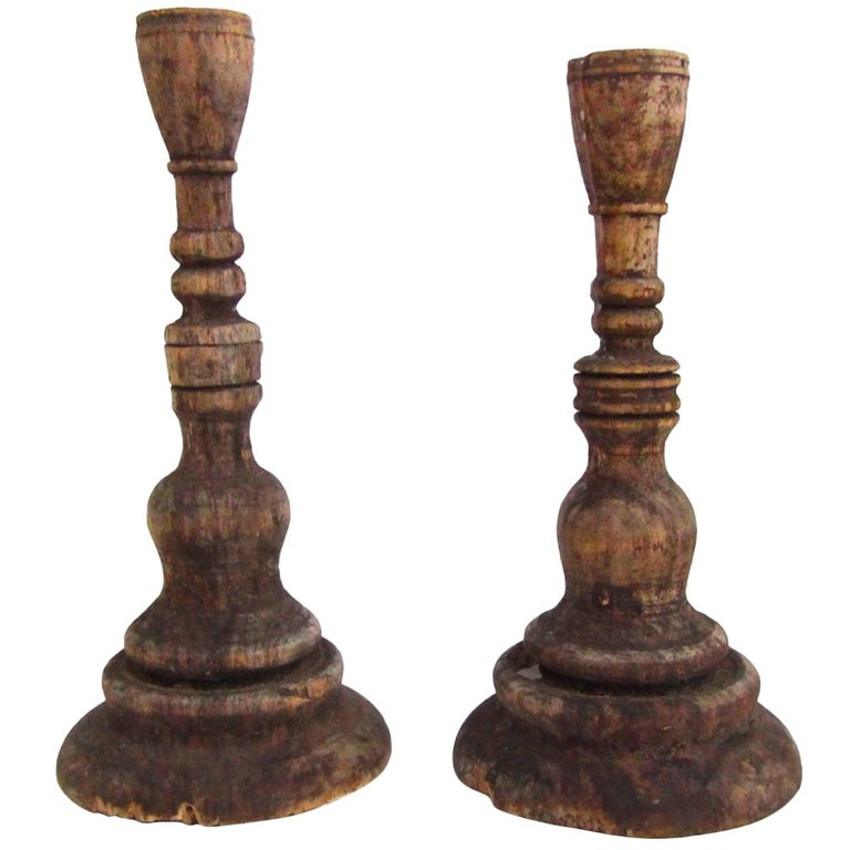 Two Swedish Candlesticks, Made in Fruitwood, circa 1720s For Sale
