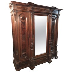 Master Wardrobe from 1880 Solid Oak and Veneered Root Walnut