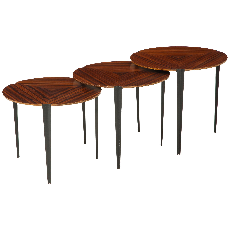 Osvaldo Borsani for Tecno Set of 3 Nesting Tables Model T61