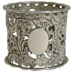 Heavy Antique English Sterling Silver Napkin Ring, 1895