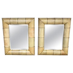 Large Modern Parchment and Brass Mirror