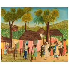 E. Jean, Haitian Artist, Naivist School, Oil on Board, Wedding Scene from Haiti