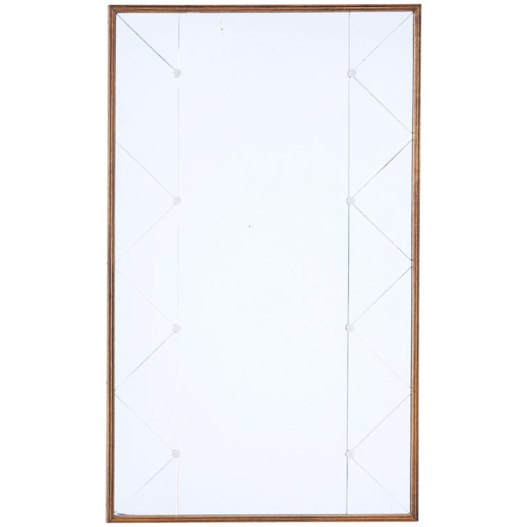 Mid-20th Century Deco Style Oak Frame Mirror For Sale