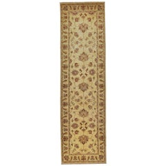 Hand Knotted Wool Rug Runner Farahan Beige and Red