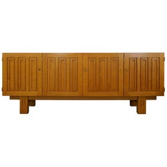 Geometric French Sideboard in Solid Oak, 1950s