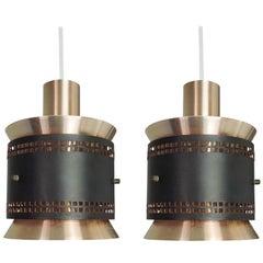 Vintage Danish Copper and Black Pendant Light, 1960s, Set of 2