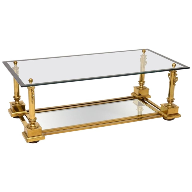 1950s Vintage French Brass Coffee Table by Maison Charles For Sale