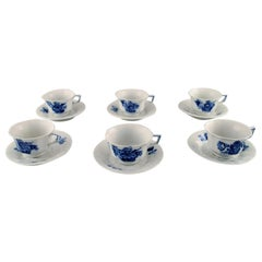 Royal Copenhagen Blue Flower Angular Set of 6 Coffee Cups and Saucers No. 8608