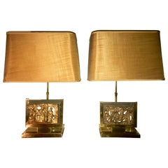 Pair of Midcentury Mod Brass Lamps with 19th Century Chinese Carved Wood Panels