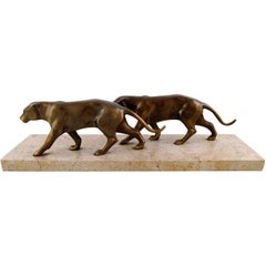 Large Art Deco Figure of Two Panthers in Patinated Bronze on Marble Base
