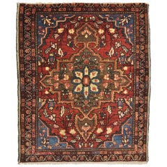Rug Wool Hand Knotted Blue Red and Beige Teheran