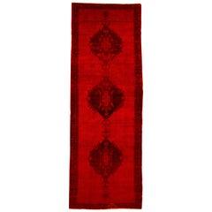 Vintage Overdyed Khotan Runner Rug