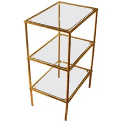 Mid-Century Modern Hollywood Regency Faux Bamboo Gold Metal Three-Tiered Table