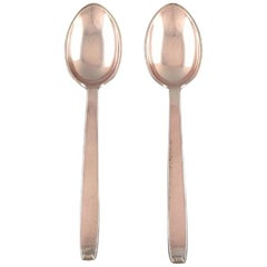 Evald Nielsen No. 29. 2 Dinner Spoons in 830 Silver, 1930s