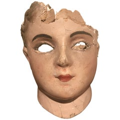 19th Century French Papier Mâché Doll Head