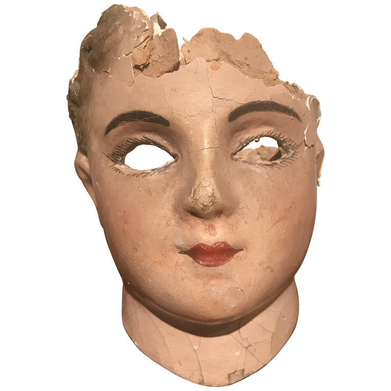 19th Century French Papier Mâché Doll Head For Sale