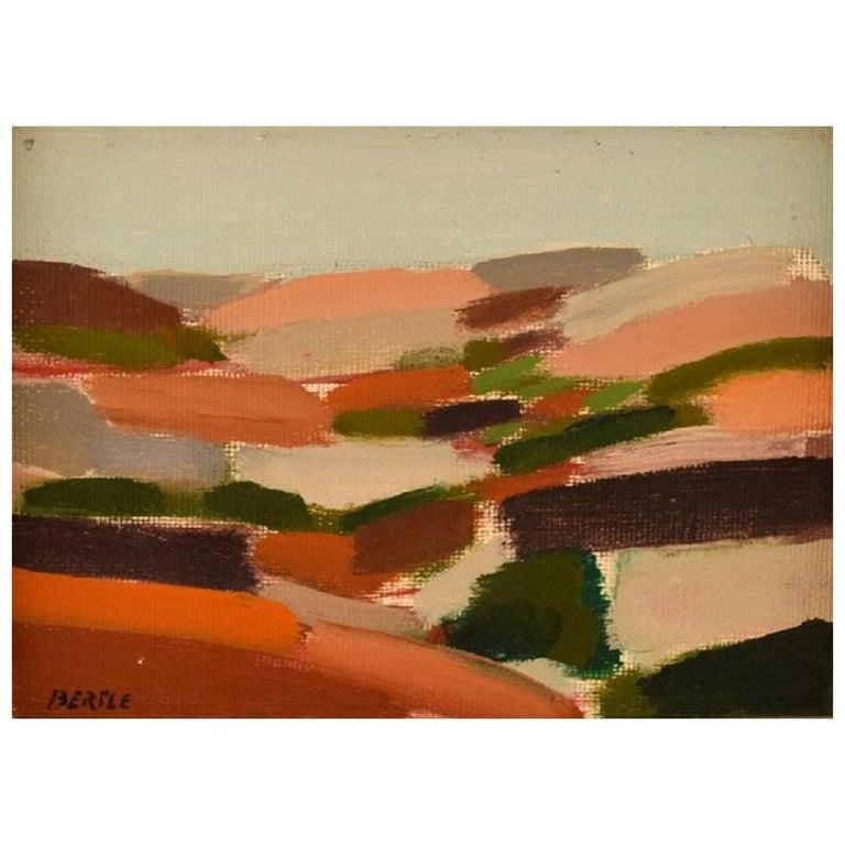"Lars Bertle Swedish Artist Oil on Plate, ""Bohuslän"", Modernist Landscape For Sale"
