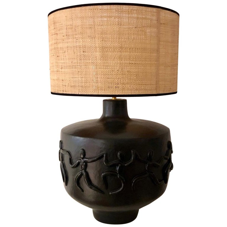 Large One of a Kind Black Ceramic Base Lamp Signed by Dalo For Sale