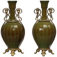 Pair of Glass Vases Attributed to La Cristallerie de Saint Louis, circa 1890