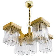 Midcentury Italian Brass and Glass Chandelier by Sciolari, circa 1960