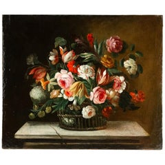 18th Century French School, Oil on Canvas Bouquets of Flowers with Roses
